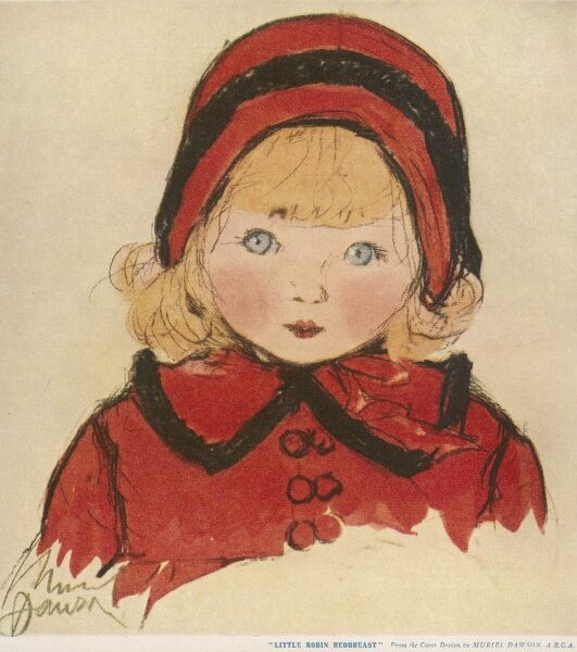 Charming illustration of a little girl with blonde hair and blue eyes with a matching red coat and bonnet