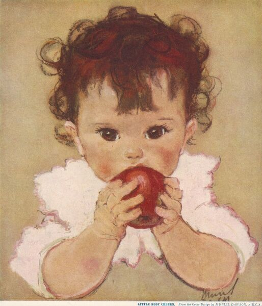 A little girl with curly brown hair and big brown eyes studiously chews an apple as rosy as her cheeks