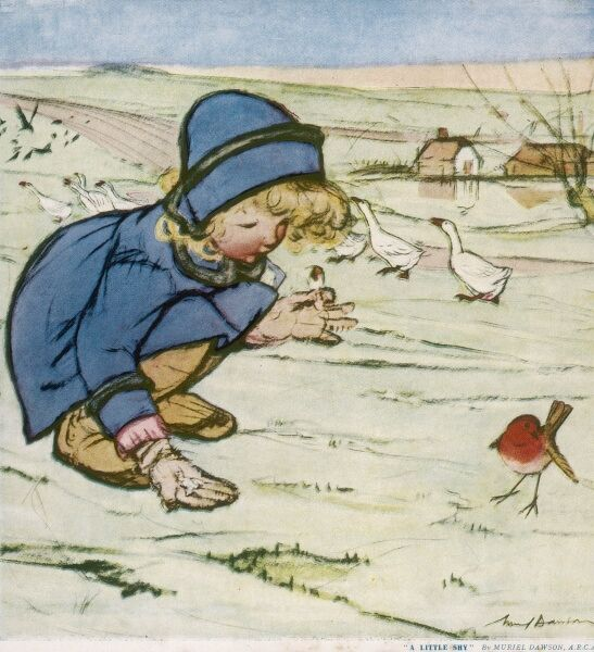A little girl in a blue coat and hat, crouches down in the snow, encouraging a robin to eat crumbs from her gloved hands