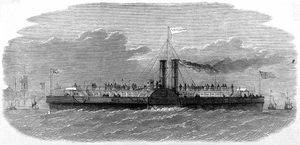 Engraving of the Liverpool and Birkenhead Ferry-Steamer, 'Cheshire', 31st October 1863