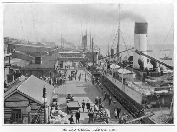 View of the landing-stage at Liverpool Docks with passenger steam ships, people and baggage