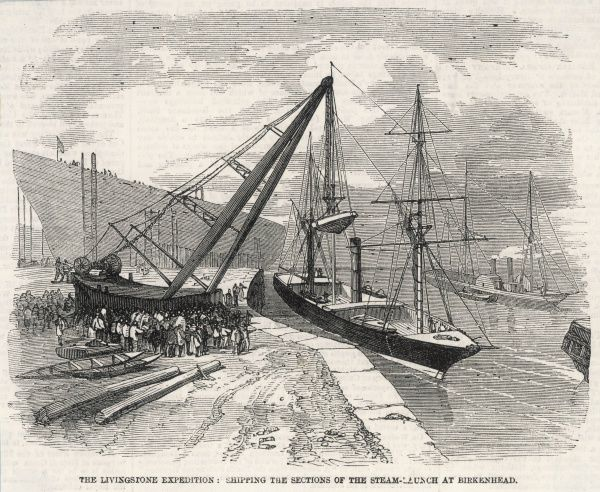 The steam launch, Lady Nyassa, funded entirely by Livingstone, is seen being loaded, in sections, at Birkenhead from where it will journey to the Zambesi in Africa