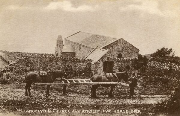 Llangelynnin (Welsh for 'The Church of Celynnin') - a former parish in the Conwy valley, Wales and Two-horse Bier. Now only survives (as a name) in relation to the 12th century church itself. Date: circa 1909