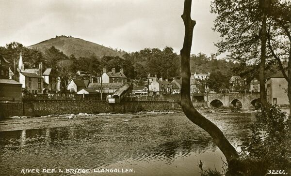 Llangollen in Denbighshire, north-east Wales with the River Dee and Bridge