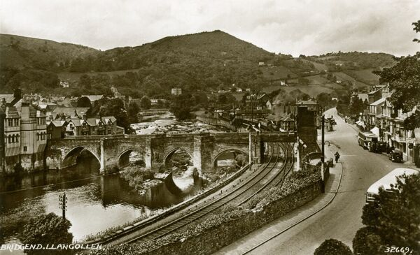 Llangollen, River Dee and Bridge - in north-east Wales in the county of Denbighshire