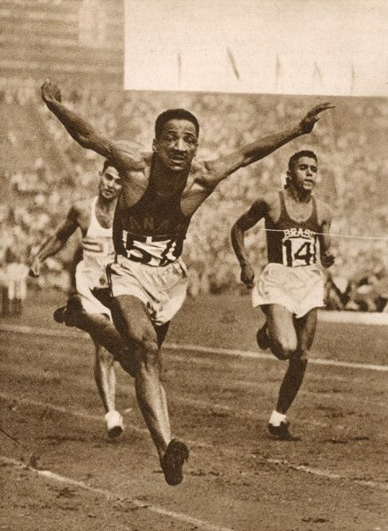 Sprinter Lloyd B. Labeach from Panama thrusts forward to win Heat 4 in the second round of the 100 Metres competition. His time was 10.5 seconds. Date: 1948