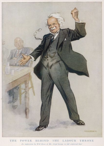 "David Lloyd-George, (1863 - 1945), 1st Earl Lloyd-George of Dwyfor, the Welsh Liberal statesman, caricatured by the humorous artist, Will Owen as the power behind the ""Labour throne&quot"