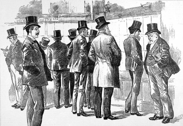 Illustration showing a group of Lloyd's underwriters viewing the 'Casualties Board', for information about damaged and sunk ships, Lodnon, 1890