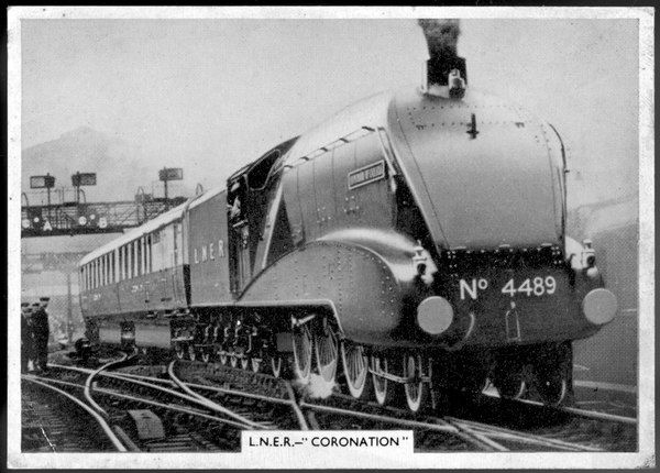 Streamlined 'Coronation' locomotive hauling the London and North Eastern Railway's Edinburgh express