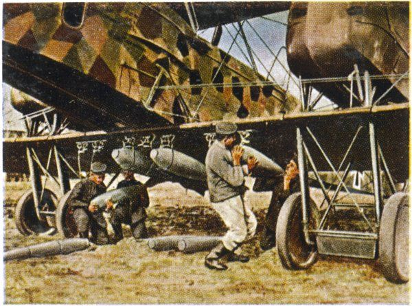 German field staff load up a bomber