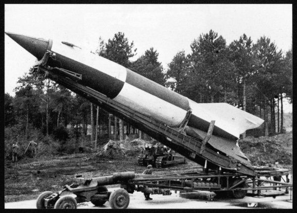 A V2 rocket on the launch pad. More elaborate than the V1, these were first fired against London on 8 September 1944