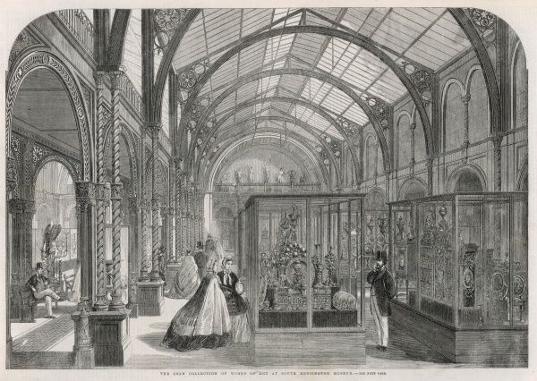 The Loan Collection on display in the South Kensington Museum (now the Victoria and Albert Museum) in 1862, an exhibition comprising over 8000 different objects from around 450 contributors. Exhibits included a white variety of objects including jewellery