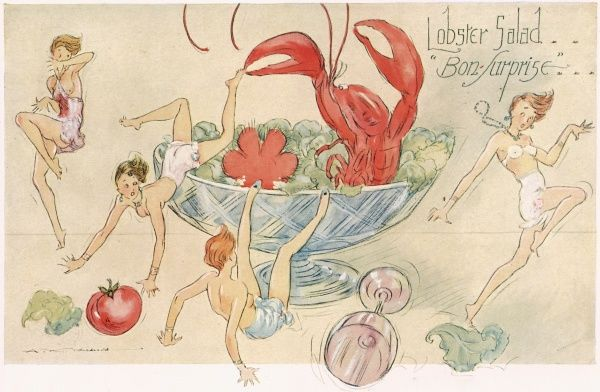 A colour illustration of a ladies leaping out of a salad bowl, chased by a lobster