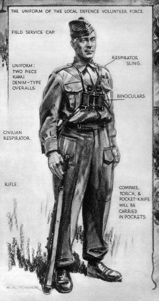 The uniform of the Local Defence Volunteer Force, established to defend Britain against the anticipated invasion by German parachutists. The uniform supplied by the War Office was a two piece garment of khaki denim, with a field-service cloth cap