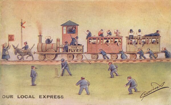 A satirical look at an 'express' train service (1/2 10429191). 1907
