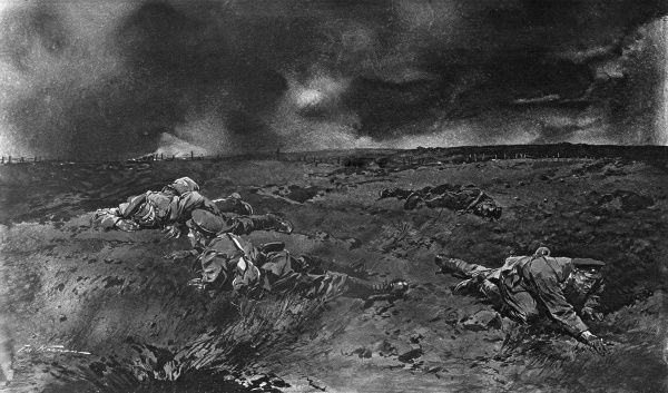 Illustration showing British soldiers crawling close to the ground at night in No-Mans Land, in a bid to locate enemy sappers by ear