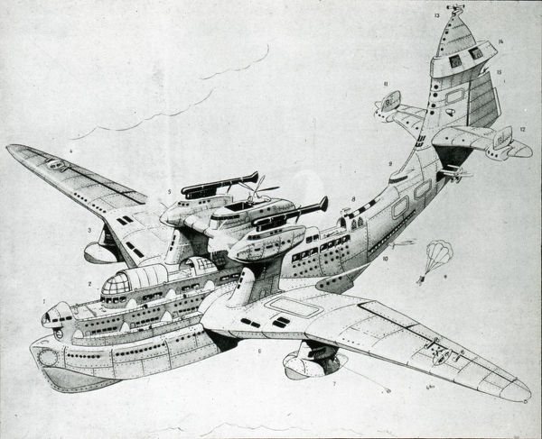 Loch Ness' flying boat (caricature), 1935