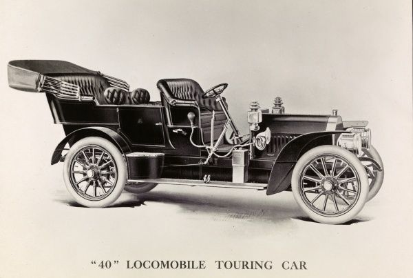 Automobile (Cars). Print (lithograph?) of an automobile; '40' Locomobile Touring Car in type below image