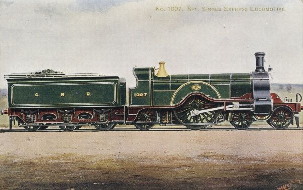 Locomotive no 1007 4-2-2 eight foot single express engine Date