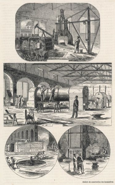 Various scenes depicting the construction of the Great Western Railway at the Swindon Works