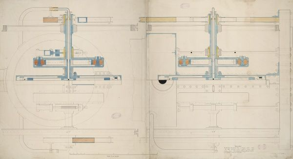 Locomotive engine, 9 foot driving wheel, horizontal and cross sections 1 June 1849 Date: 1849