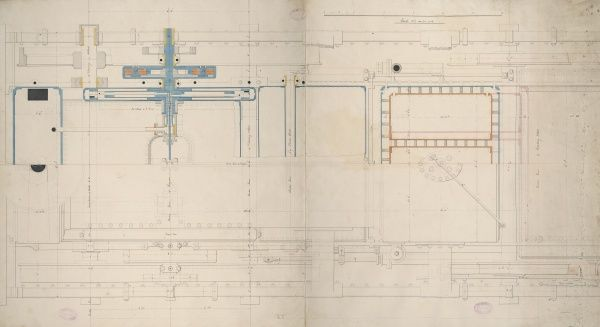 Locomotive tank engine, 4 foot 9 inch driving wheel, plan and section 4 May 1849 Date: 1849
