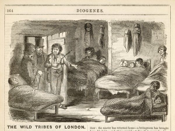 A lodging house in the Borough, London - the proprietor shows inspectors the accommodation