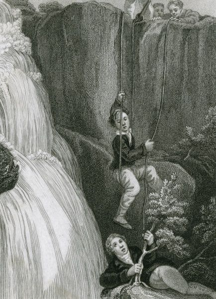 Intrepid (or foolhardy) boys birds nesting near the Lodore Falls, Cumbria - surely they should be wearing safety helmets, and be accompanied by a responsible adult? Date: 1829