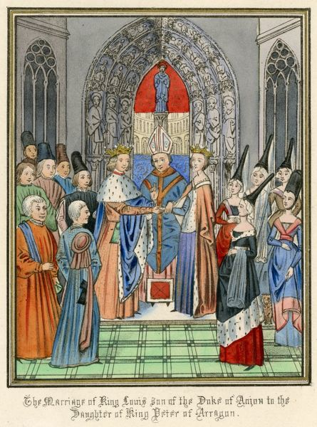 A noble marriage - Louis, king of Sicily and son of the duc d'Anjou - weds the daughter of king Pedro of Aragon