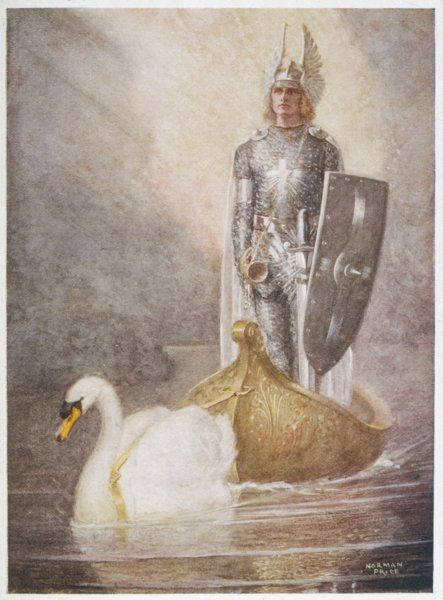 Lohengrin arrives in a boat drawn by Elsa's brother Godfrey, who has been transformed by Ortrud's witchcraft into a swan