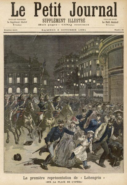 At the first night of the Paris production, there are riots instigated by patriotic Frenchman who object to a German opera being staged in France