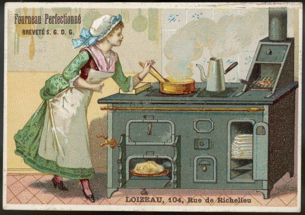 A French housewife enjoys cooking on her Loizeau stove