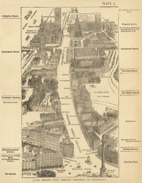 Bird's-eye view of London at the end of the 19th century : from Charing Cross through Whitehall to Westminster