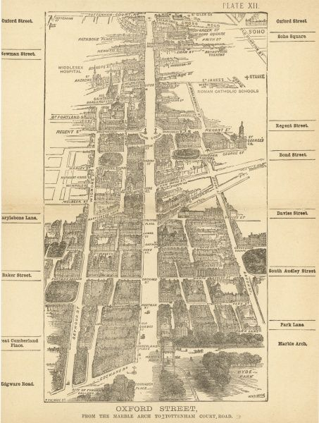 Bird's-eye view of London at the end of the 19th century : Oxford Street, from the Marble Arch to Tottenham Court Road