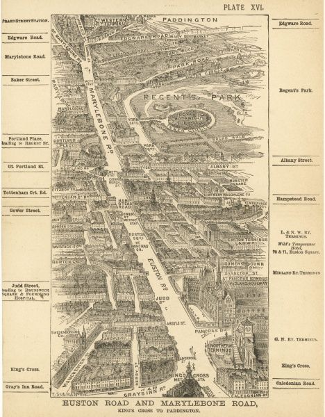 Bird's-eye view of London at the end of the 19th century : Euston Road and Marylebone Road, Kings Cross to Paddington