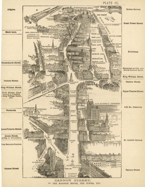 Bird's-eye view of London at the end of the 19th century : Dannon Street to the Mansion House, the Tower &c