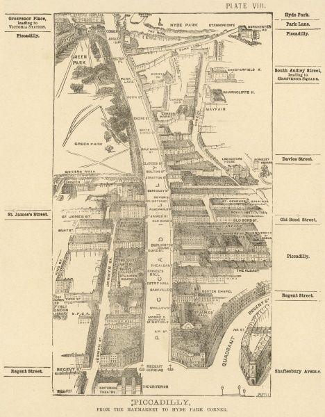 Bird's-eye view of London at the end of the 19th century : Piccadilly, from the Haymarket to Hyde Park Corner