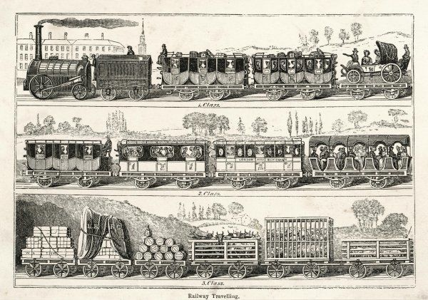 LONDON-BIRMINGHAM LINE Three classes of passenger coach, and a variety of wagons for freight and livestock