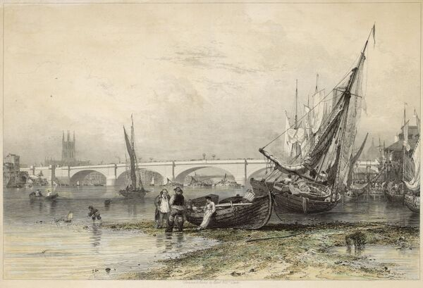 with fishing boats and fishermen, viewed from Billingsgate at low water