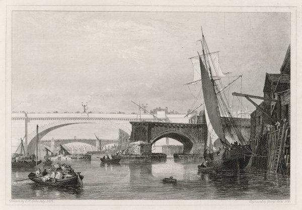 A view of the old and new London bridges