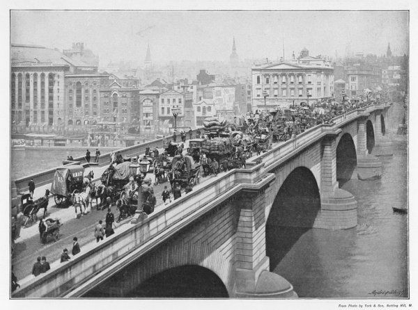 Horse buses, carts and handcarts, pedestrians crossing the bridge : facing northwest