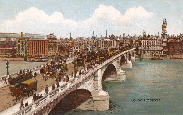Heavy traffic - wagons, horse- buses and cabs - crossing London Bridge from south to north. Date: circa 1900