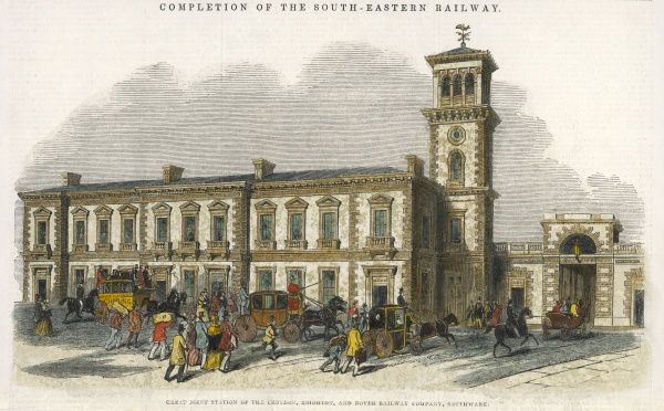 The great joint station of the Croydon, Brighton and Dover Railway, at Southwark, built 1840 - 1844, completing the South-Eastern Railway for the time being