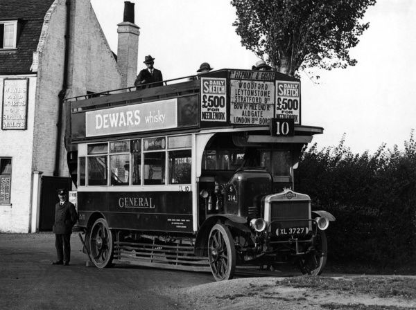 A No 10 London bus, destination Elephant & Castle, via Woodford, Leytonstone, Stratford, Bow Road, Mile End Road, Aldgate, London Bridge and Borough! Date: circa 1920