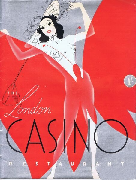 Programme cover for the London Casino, London, 1938 - featuring the dinner show Plaisirs de Paris and the supper show Montmartre a Minuit and produced by Clifford Fischer Date: 1938