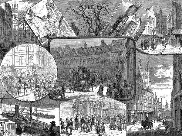 Engraving showing a variety of scenes around London in 1881. The images show (clockwise from top left): St. Dunstan's, Thames Street; St. Bartholomew's, Smithfield; The Tree at the corner of Wood Street, Cheapside; an Islington corner