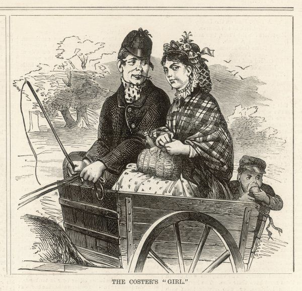 A London coster and his girlfriend, riding in an open cart