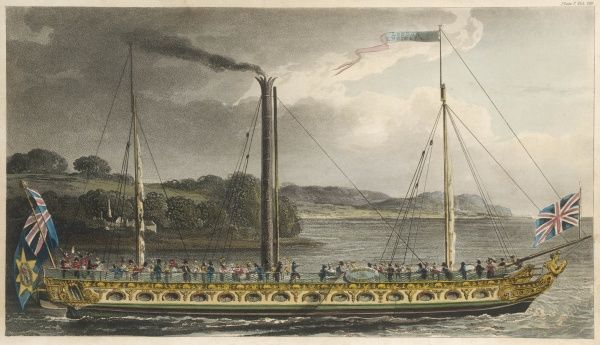 A celebrated Thames steamer plying between London and Margate Date: circa 1819