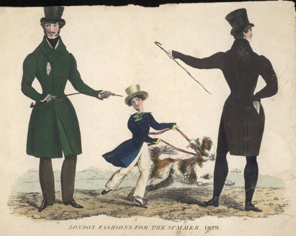 Boy: straw hat, blue D-B coat, gold buttons, shirt with falling collar, neckcloth in green, white trousers. Men: black tights, cut-away coat, D-B frock coat & pantaloons