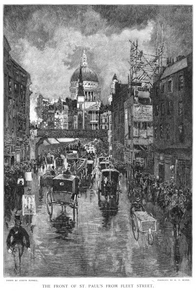 Looking towards Ludgate Hill and St Pauls on a rainy afternoon